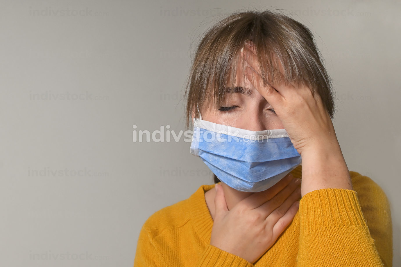 Woman Wearing Medical Mask and Throat Pain