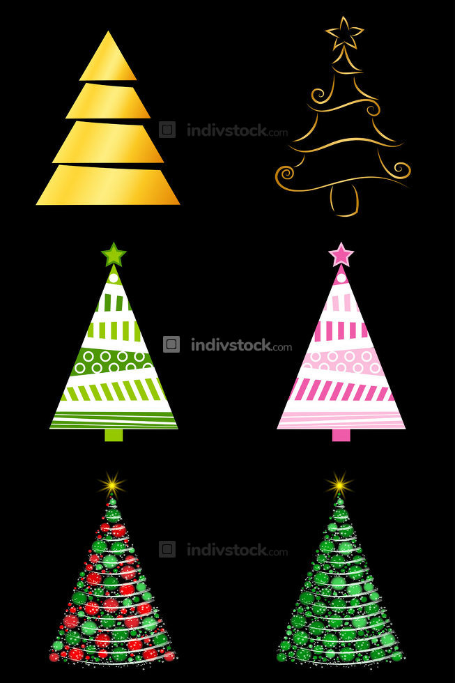 Abstract christmas tree set. Golden, decorative and glowing fir tree for xmas. Vector illustration isolated on black background. Eps 10.