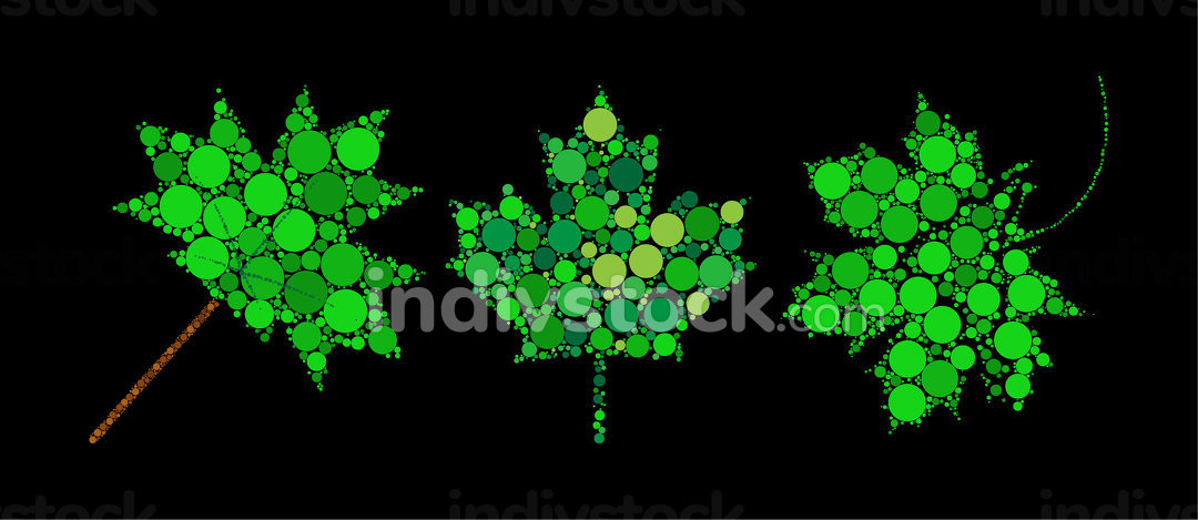 Abstract green maple leaf. Spring foliage made with dots. Decora
