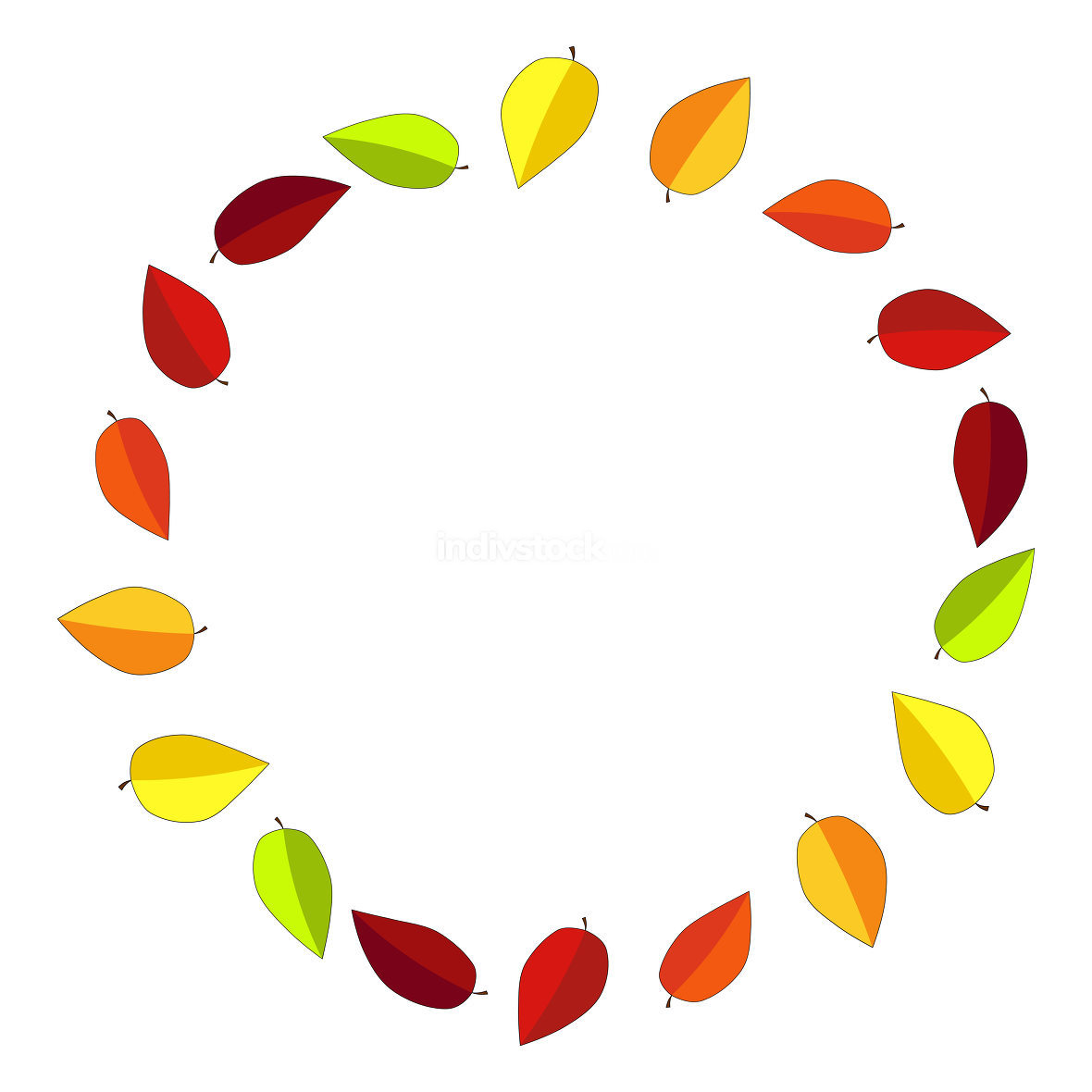 Autumn leaves wreath with copy space. Autumnal circular frame full of leaf