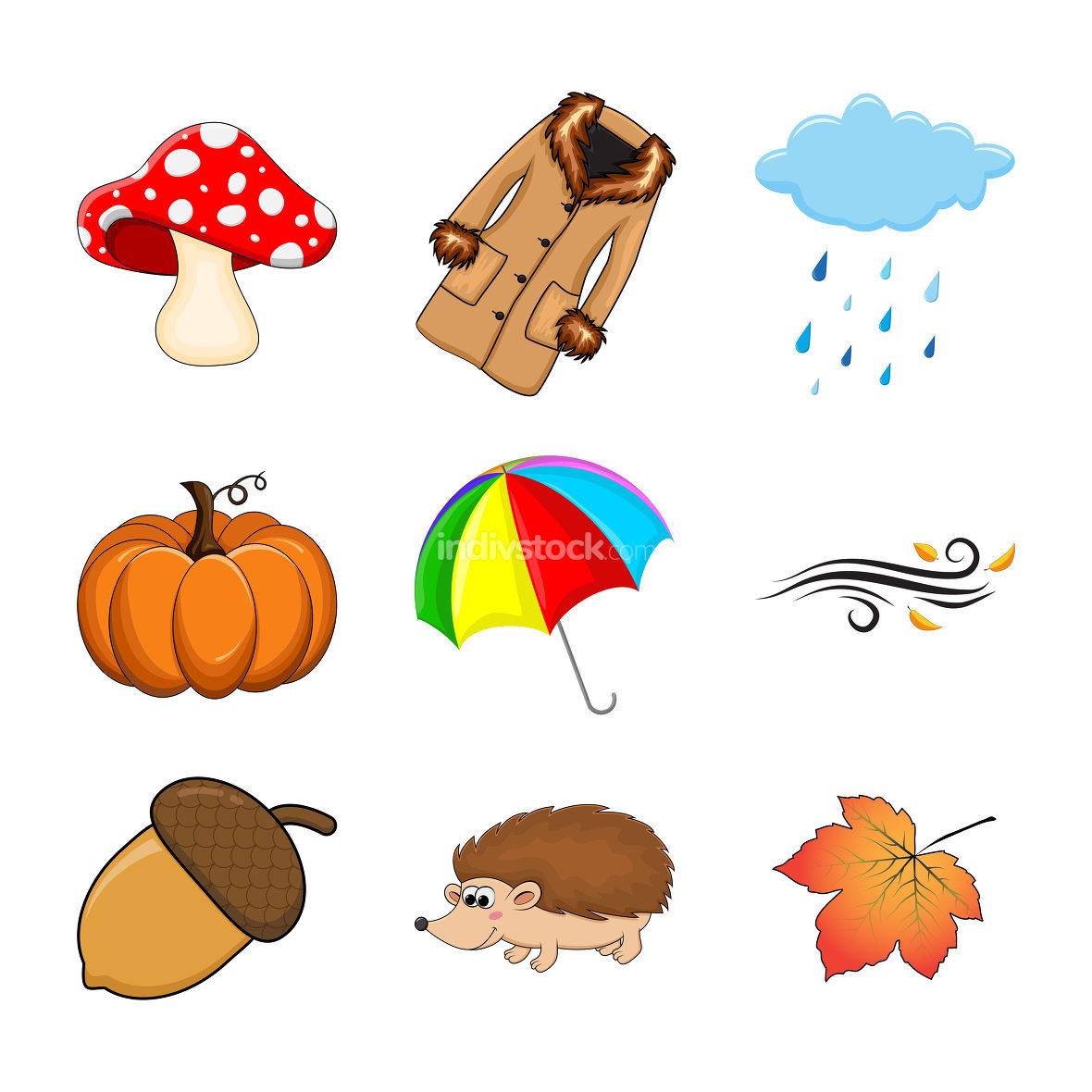 Autumn set. Autumnal cartoon symbols collection isolated on white. Fall illustration elements. Seasonal vector icons with coat, pumpkin, mushroom, umbrella, acorn, rain, cloud, hedgehog, wind, leaf