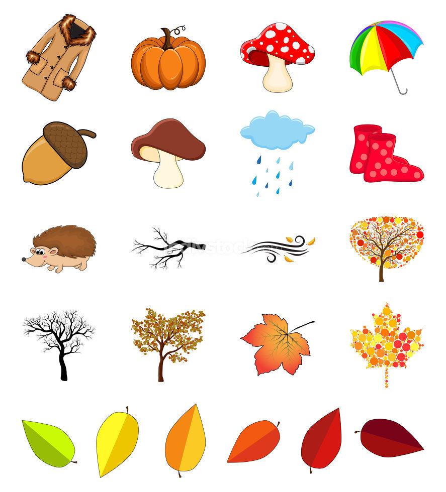 Autumnal illustration elements for october vector design. Seasonal icons with coat, umbrella, rain, cloud, wind, etc.