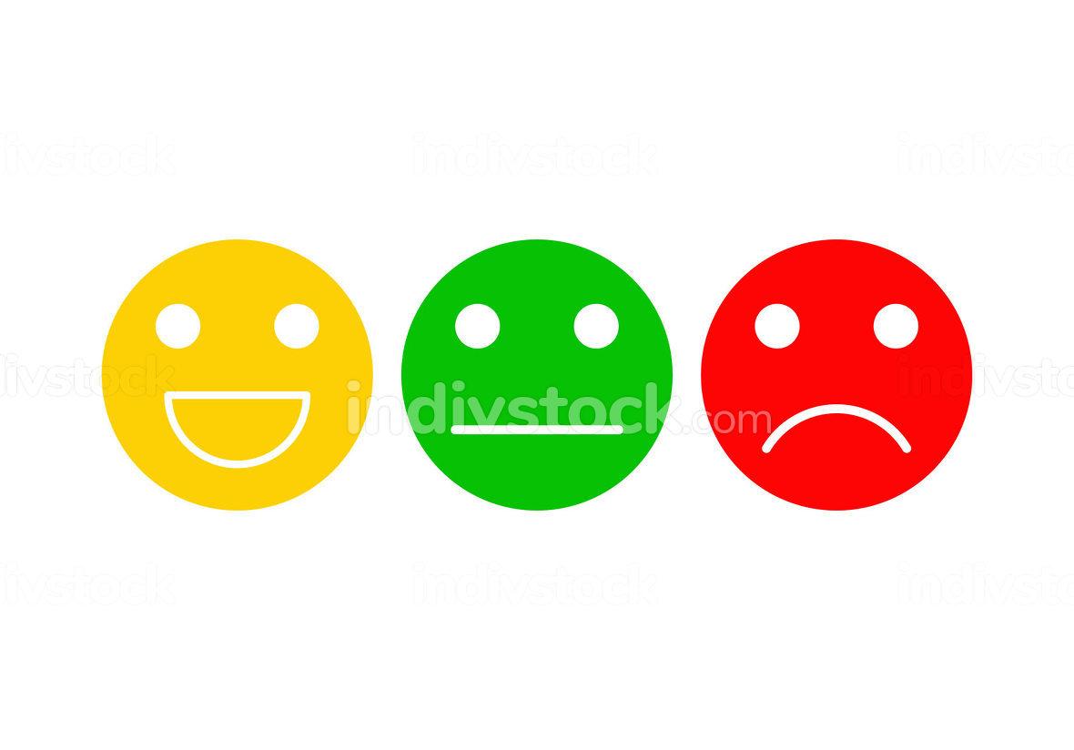 Basic emoticons set. Three facial expression for feedback-posi