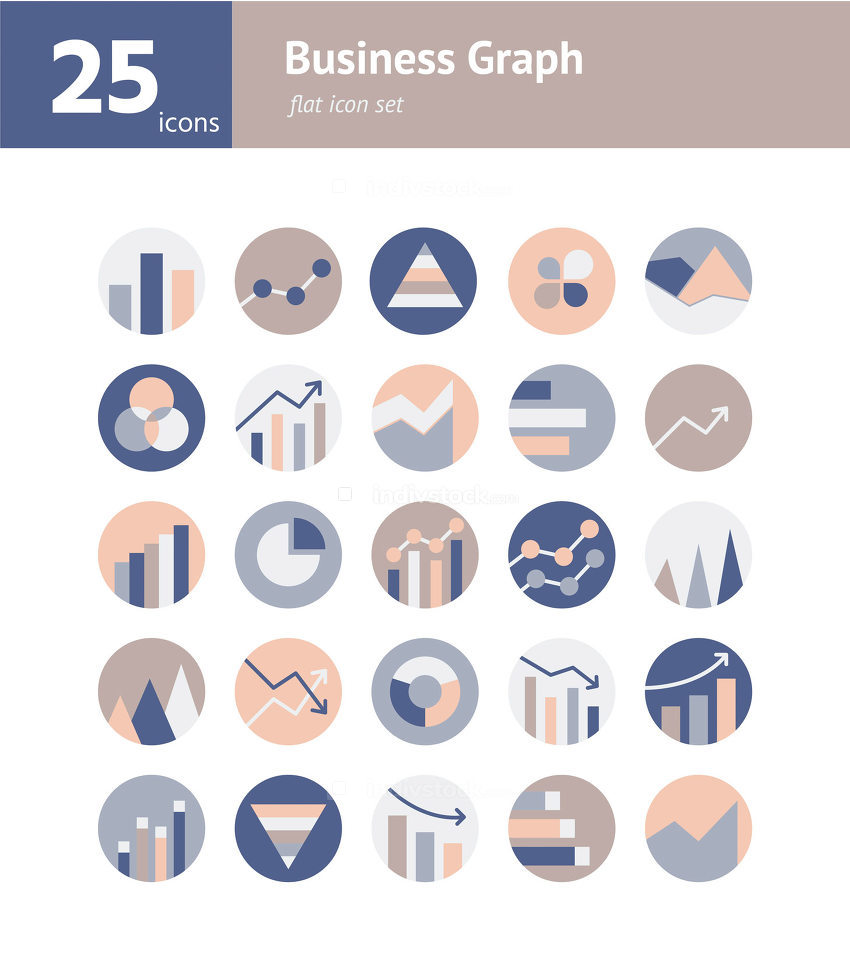 Business Graph flat icon set. Vector and Illustration.