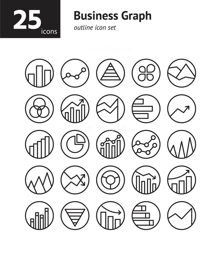 Business Graph outline icon set. Vector and Illustration.