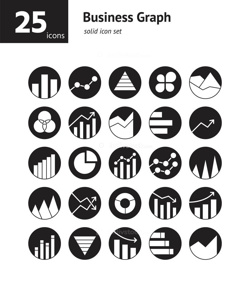 Business Graph solid icon set. Vector and Illustration.