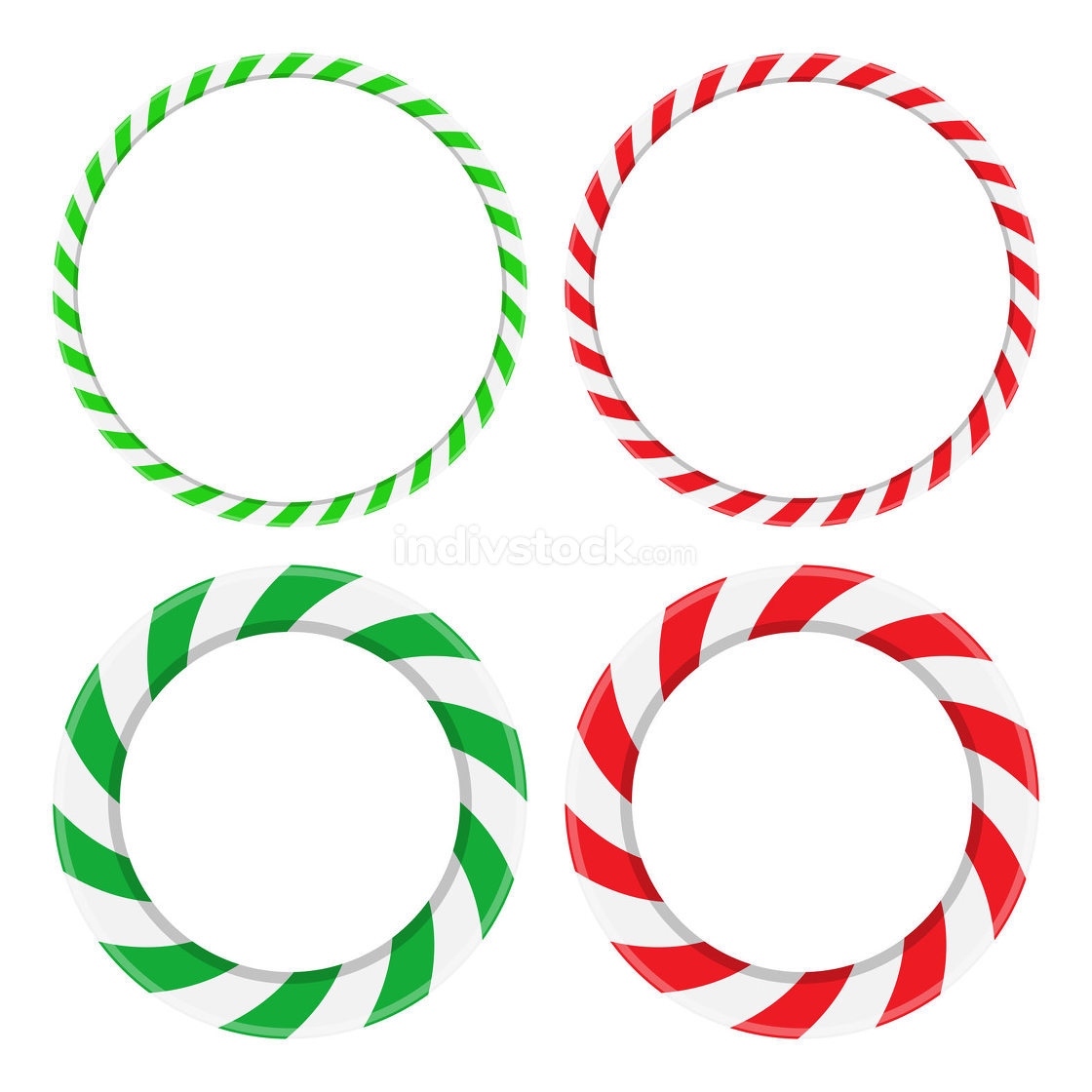 Candy cane circle frame set. Christmas round border with stripes
