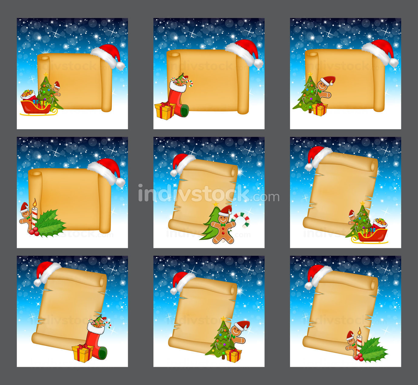 Christmas backgrounds with paper scroll set. Collection of winter old parchment decorated with christmas tree, gingerbread man, santa hat etc. Great design for christmas card or invitation.