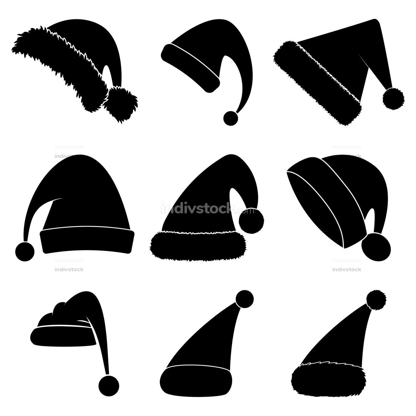 Christmas hat silhouette set. Black shape collection of santa claus hat. Santa cap icon group isolated on white background. Vector drawing for december holiday design. Winter simple symbols.