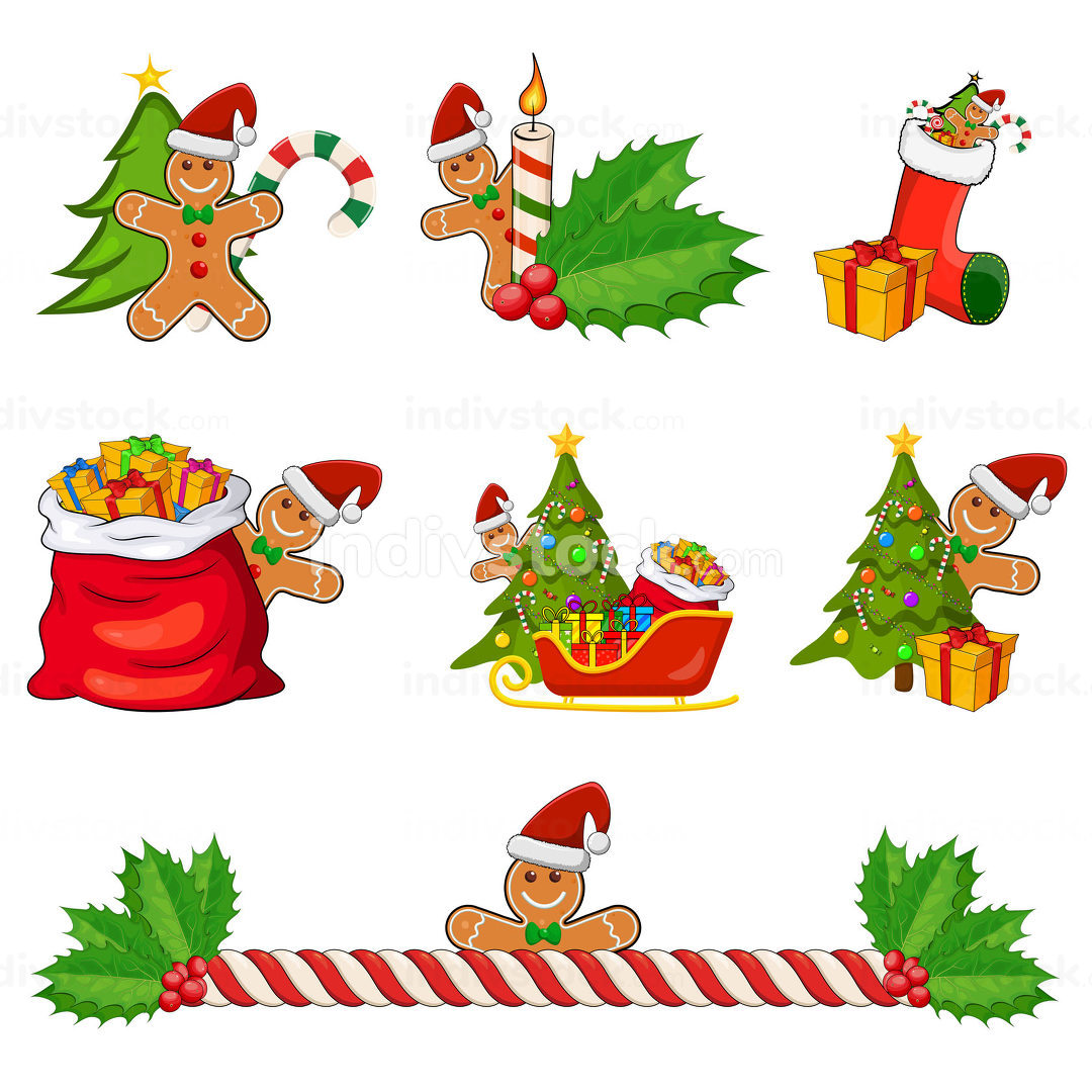 Christmas icon set isolated on white background. Vector cartoon design collection with gingerbread man. Holiday illustration with xmas design elements