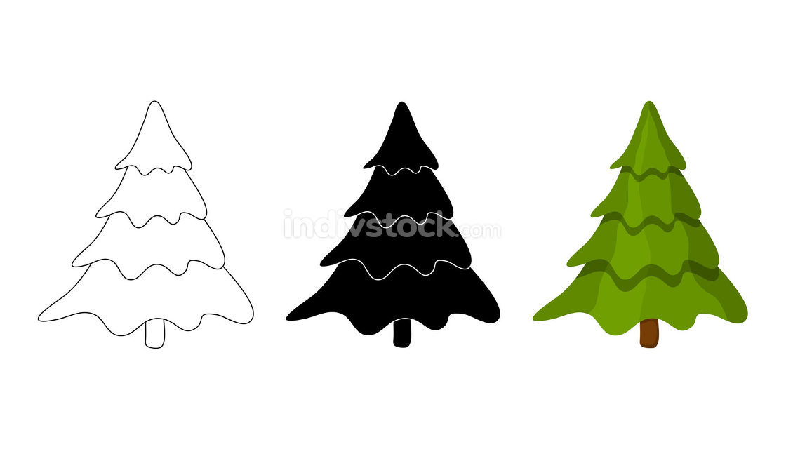 Christmas tree illustration set. Collection vector fir tree isol