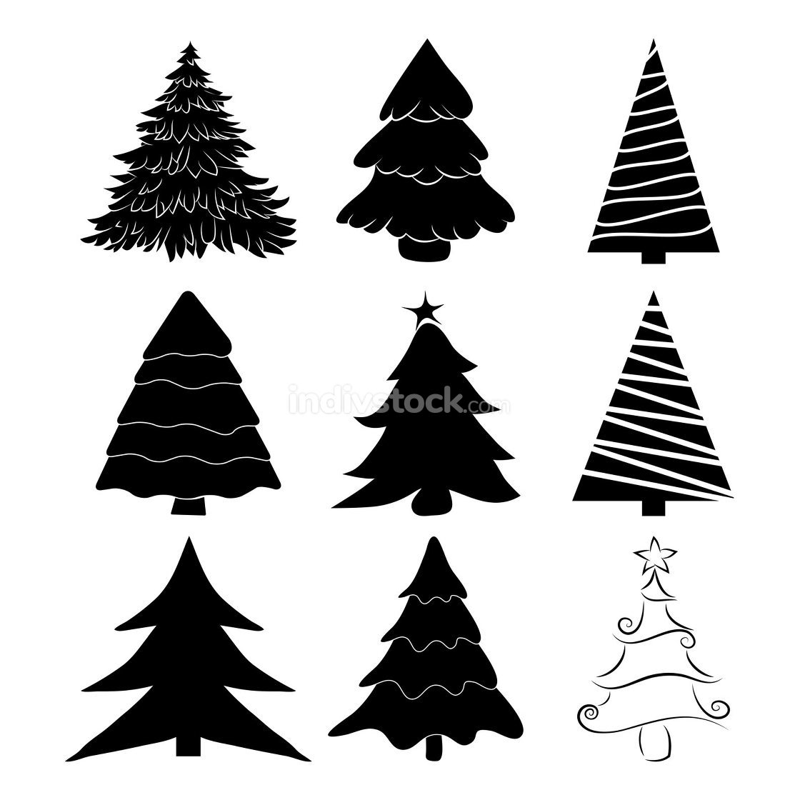 Christmas tree silhouettes set. Black pines icon for xmas card o