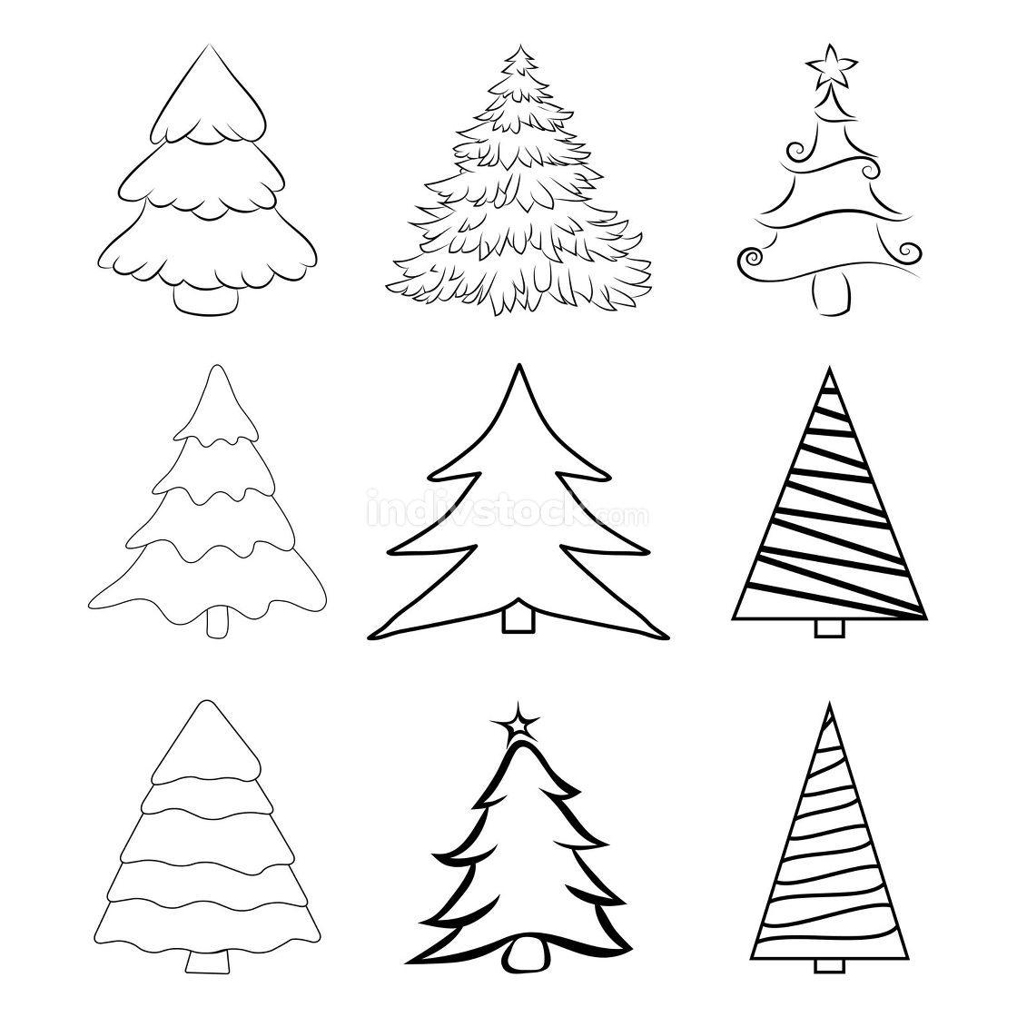 Christmas trees outline set. Contour of pines for xmas card or i