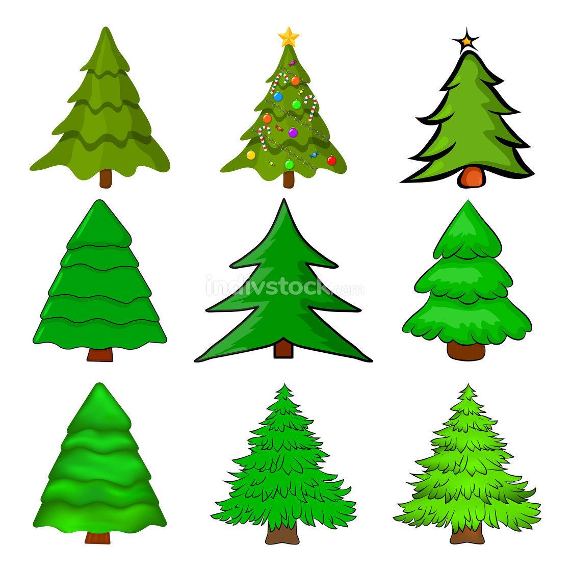 Christmas trees set. Cartoon fir tree illustration isolated on w