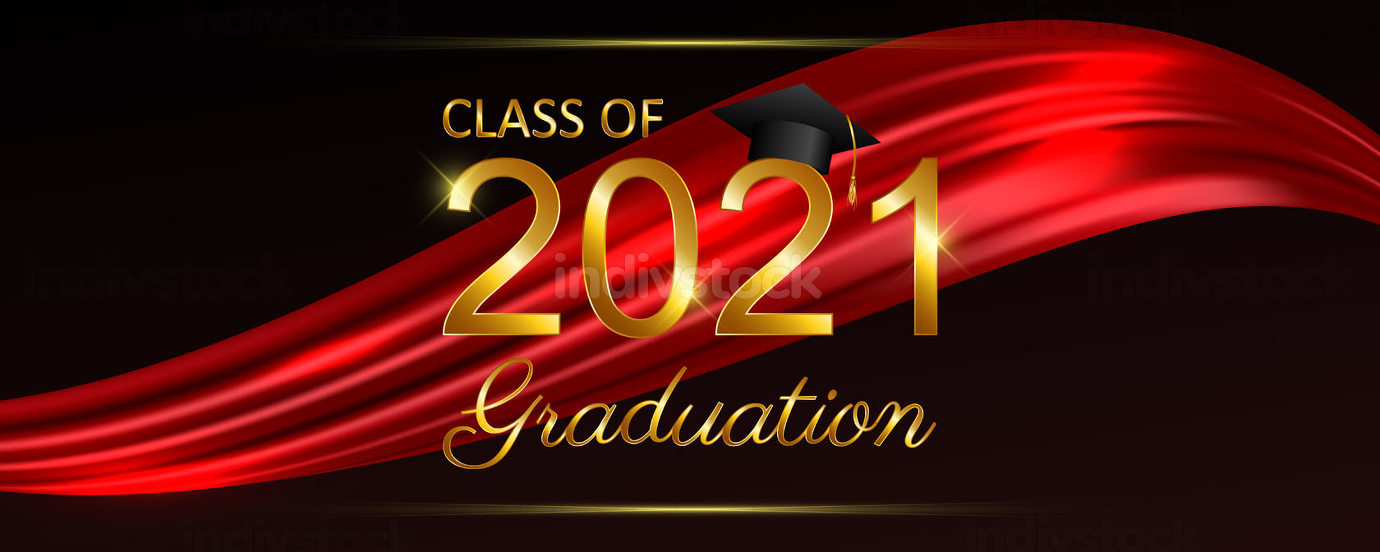 Class of 2021 graduation text design for cards invitations or b