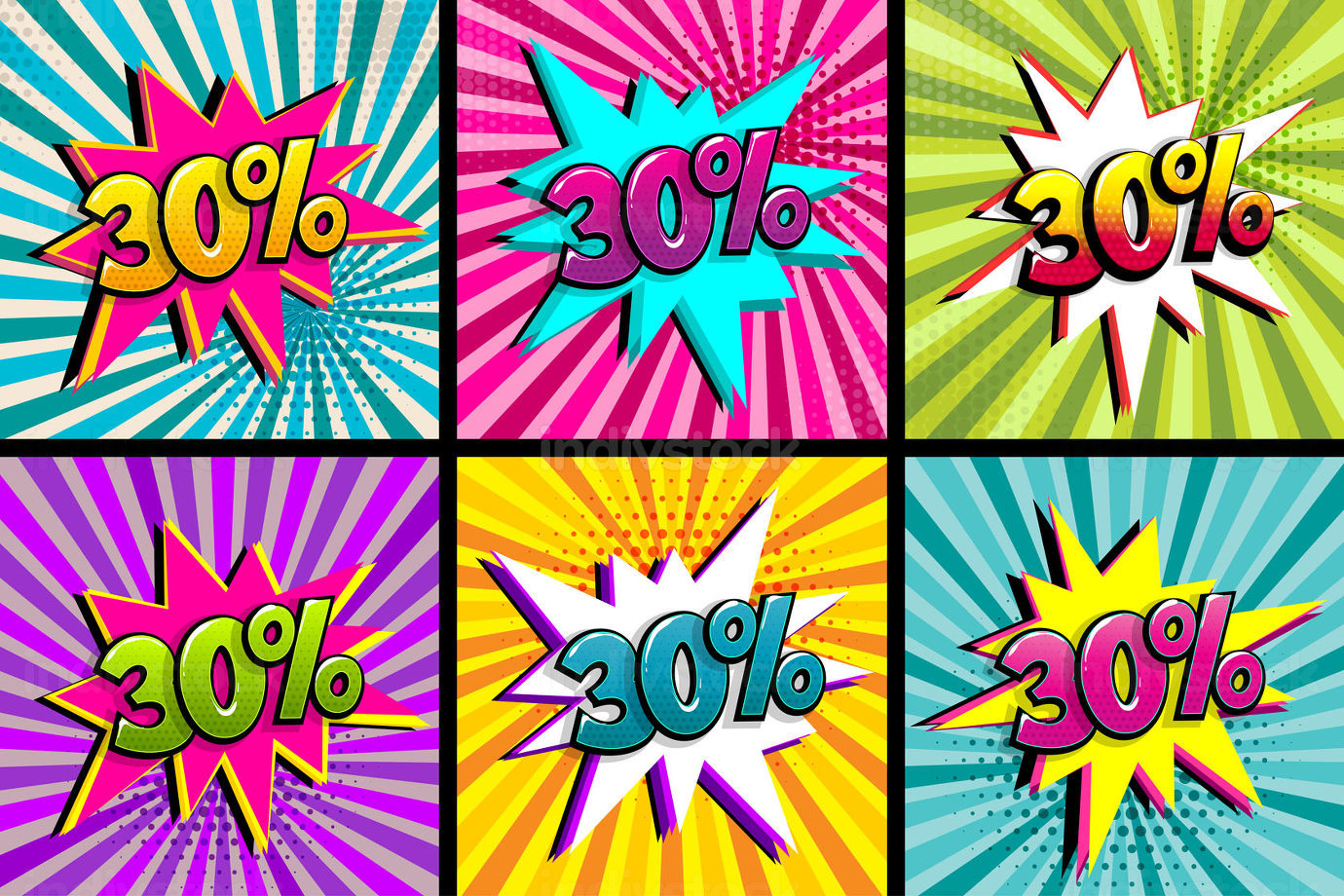 Comic text 30 percent sale set discount.