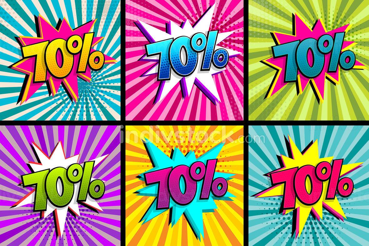 Comic text 70 percent sale set discount.