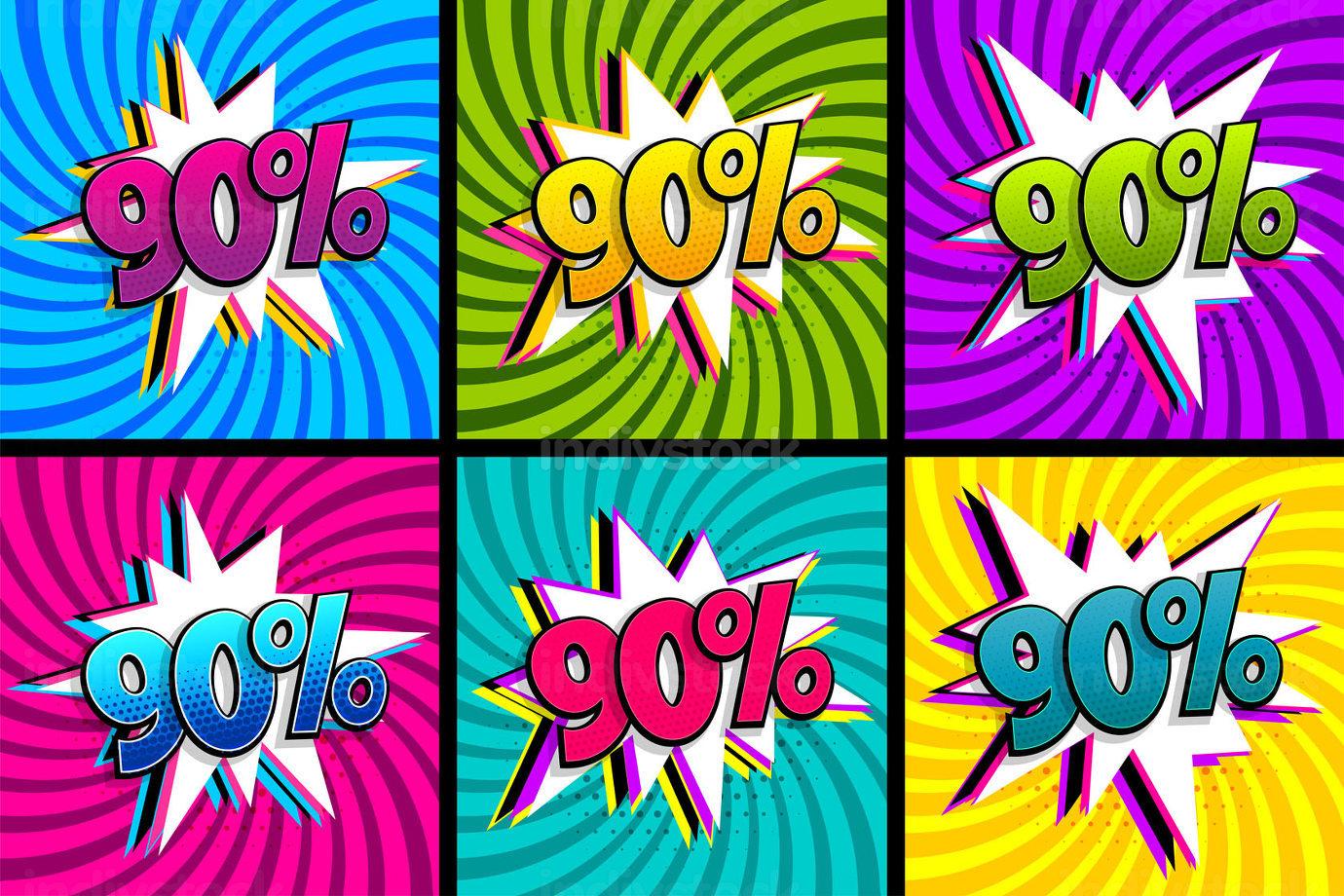 Comic text 90 percent sale set discount.