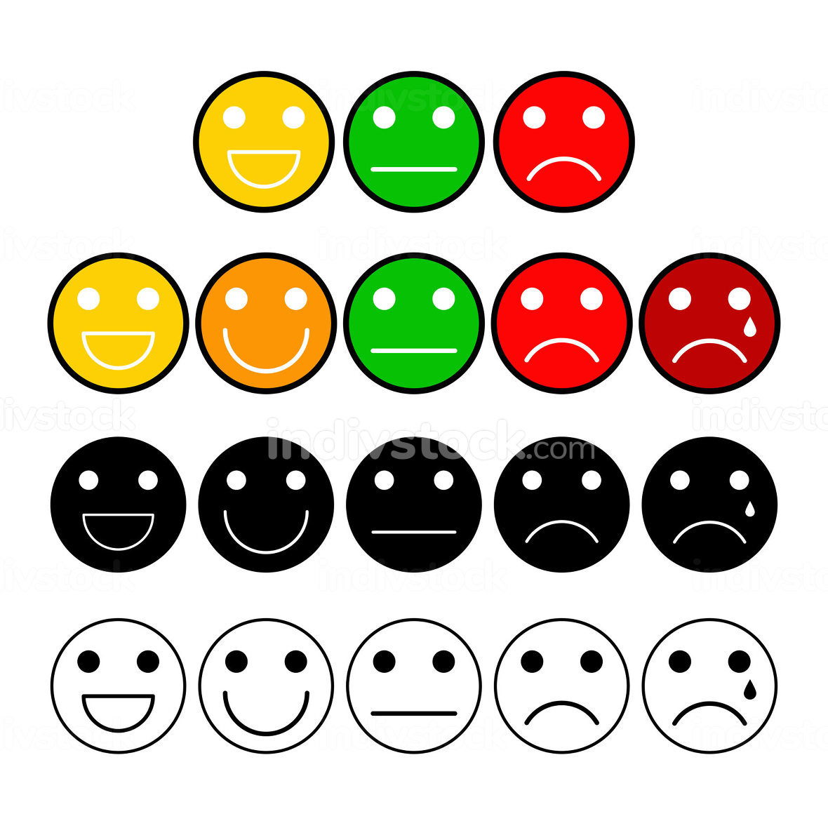 Customer opinion survey buttons set. Mood grade with emoji face.