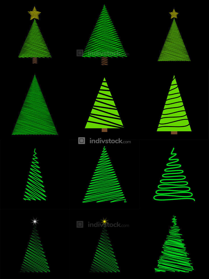 Doodle christmas tree set in scribble style. Green hand drawn fir tree collection. Vector illustration