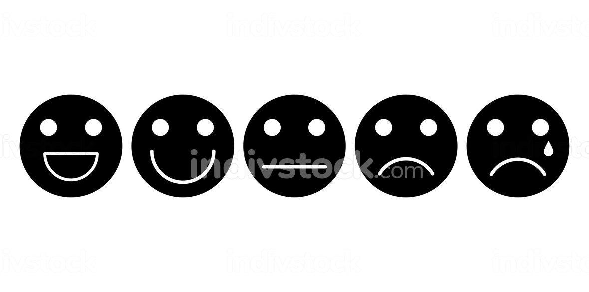 Emoji face black icon set. Customer rating satisfaction. 5 basic