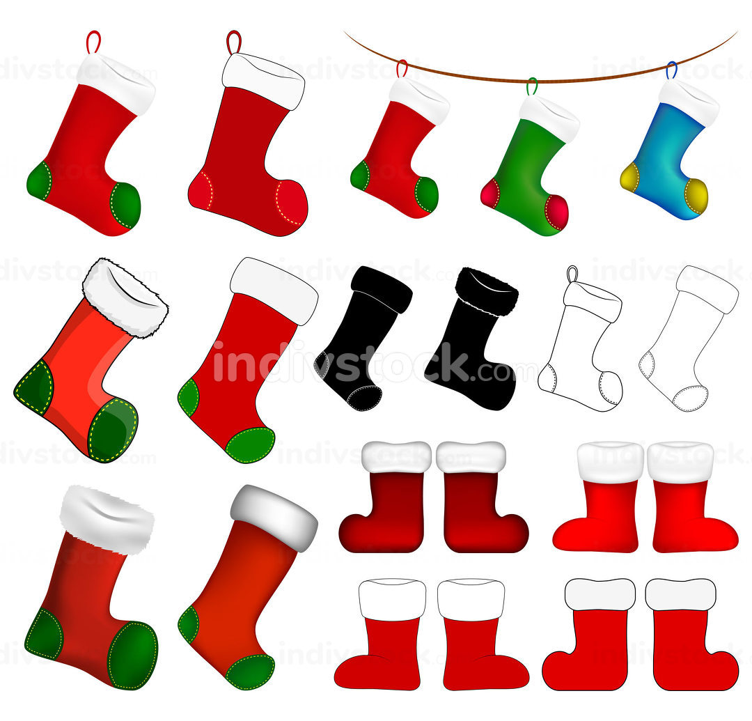 Empty christmas sock icon set. Cartoon stocking symbol collection. Winter holiday decoration. Vector illustration