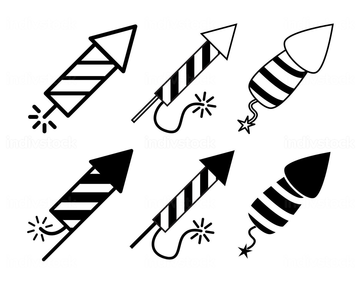 Firework rocket icon set. New years symbol collection contains