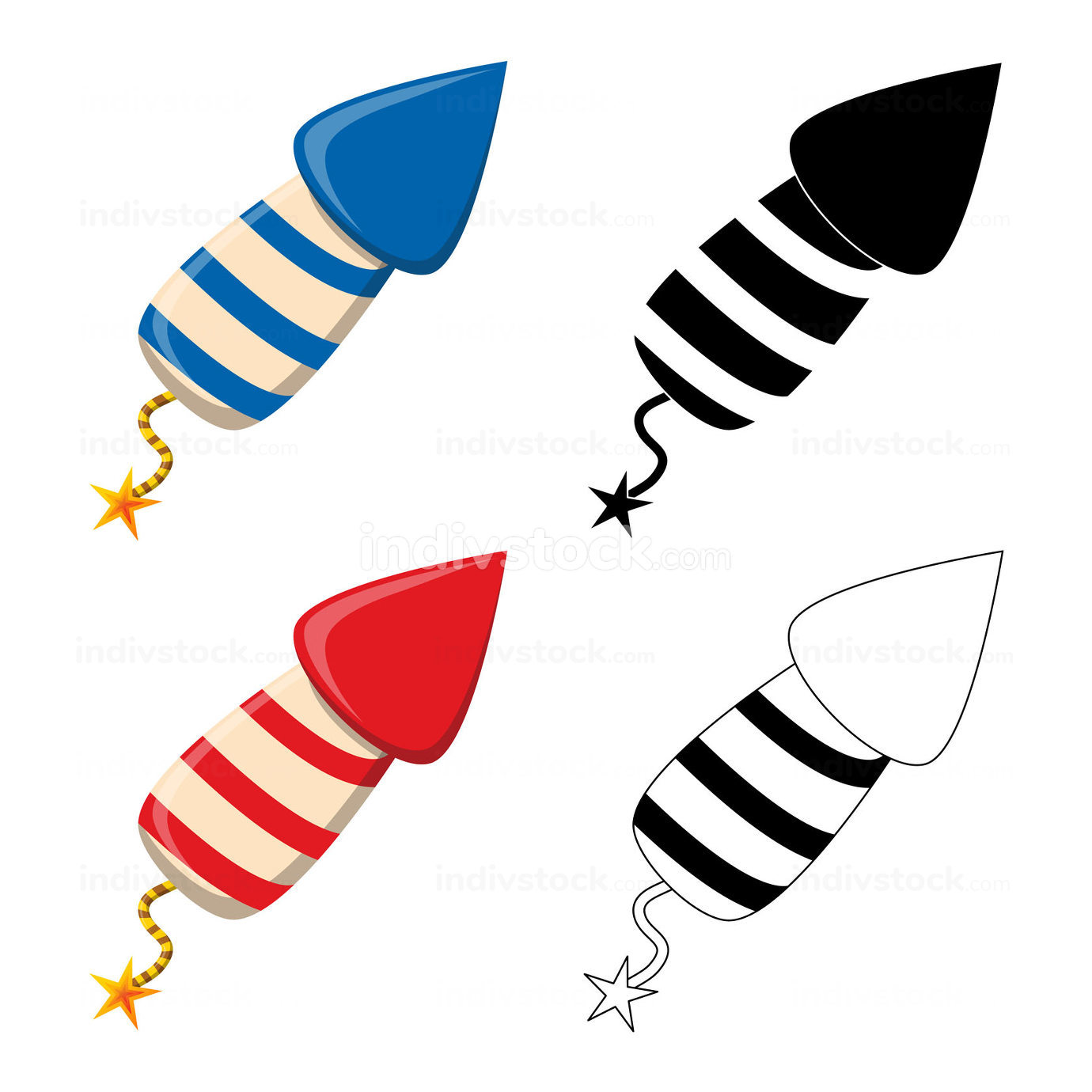 Firework rocket petard icon set. New year celebration symbol collection. Red, blue, outline and silhouette