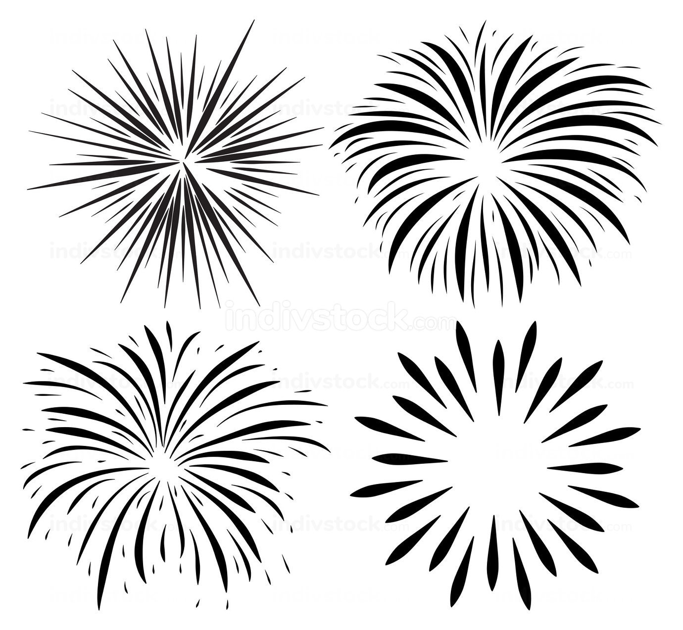 Fireworks burst silhouette icon set. Holiday sparkle fall after petard explosion. Vector collection