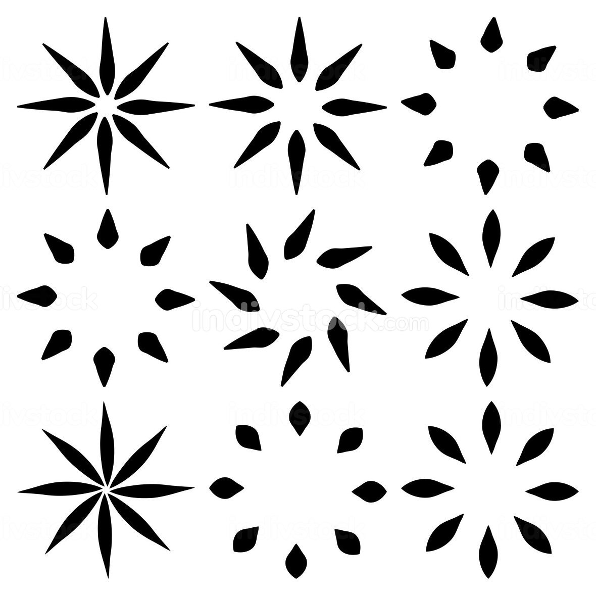 Geometric flower or leaf icon set. Black abstract simple concent