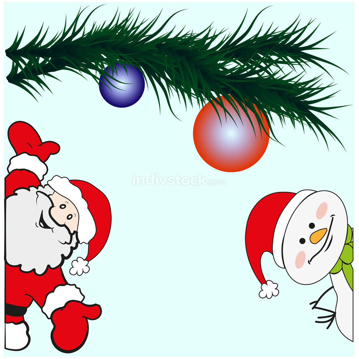Greeting card with Santa Claus and Snowman. Vector EPS 10