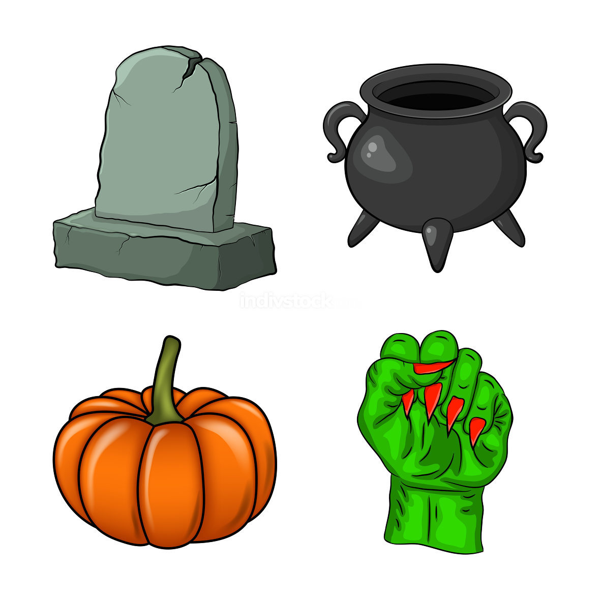 Halloween icon set. Spooky vectors collection for october holiday