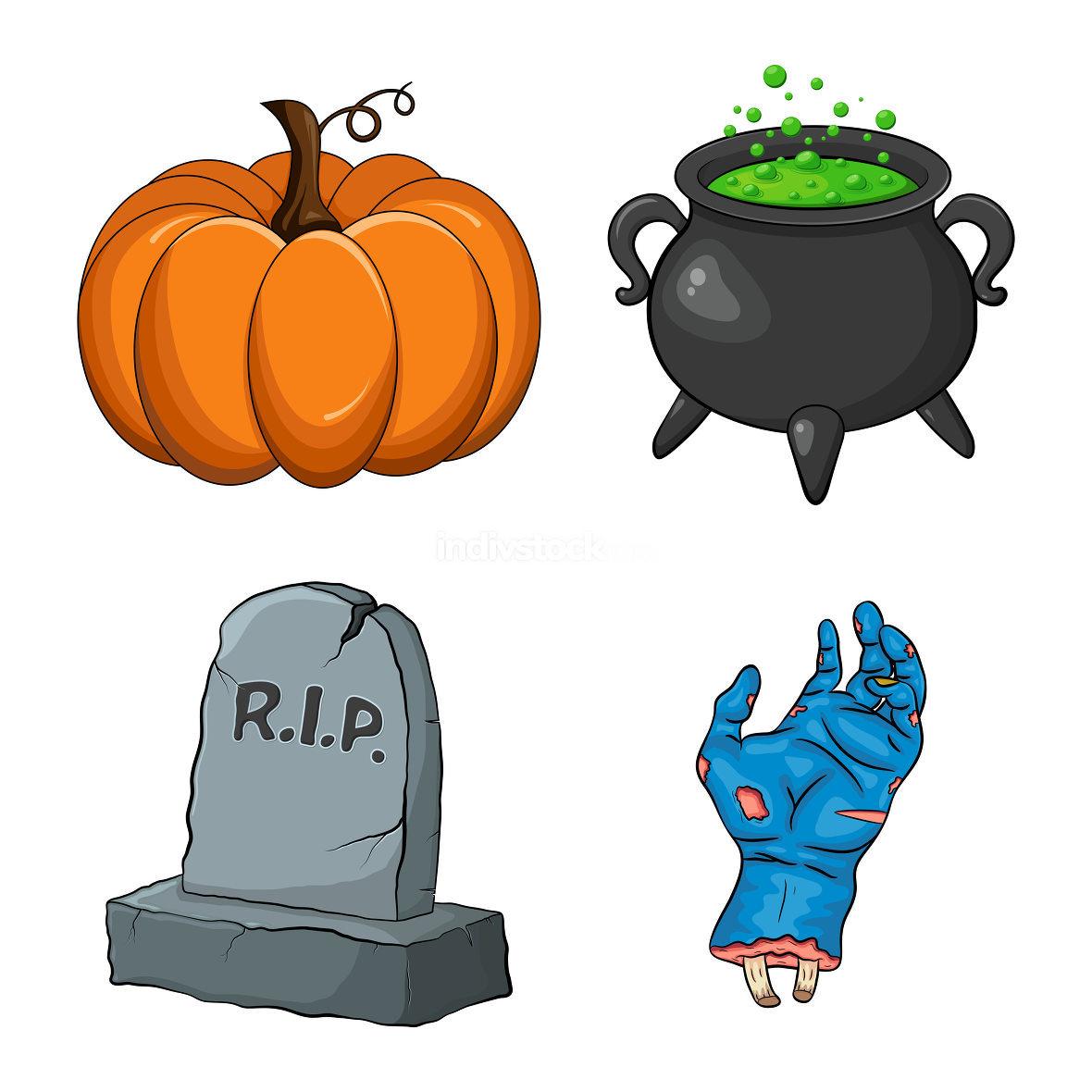 Halloween night collection. Creepy cartoon set for spooky october holiday. Vector design