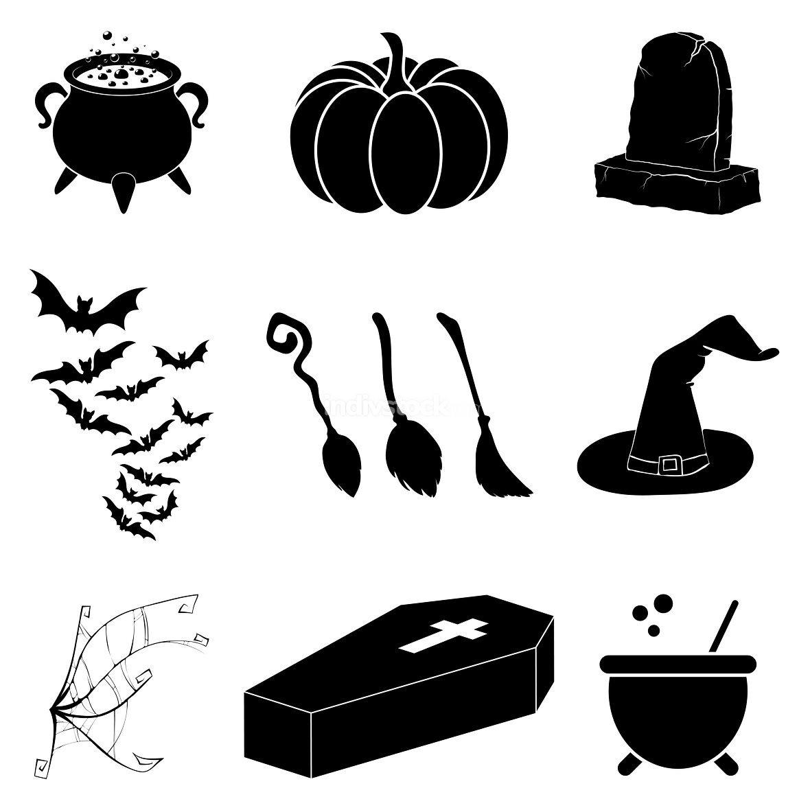 Halloween silhouette vector set. Collection of black illustration for horror holiday celebration. Creepy october cartoon symbols