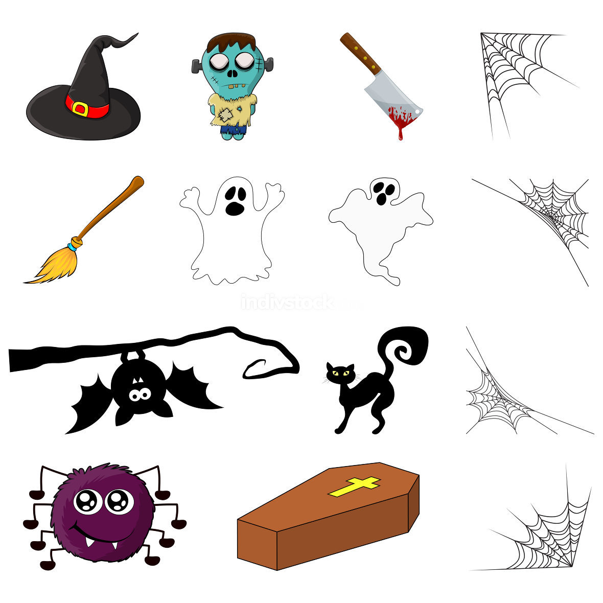 Halloween symbols. Vector collection of spooky icon set for party invitation. Creepy cartoon design element isolated on white