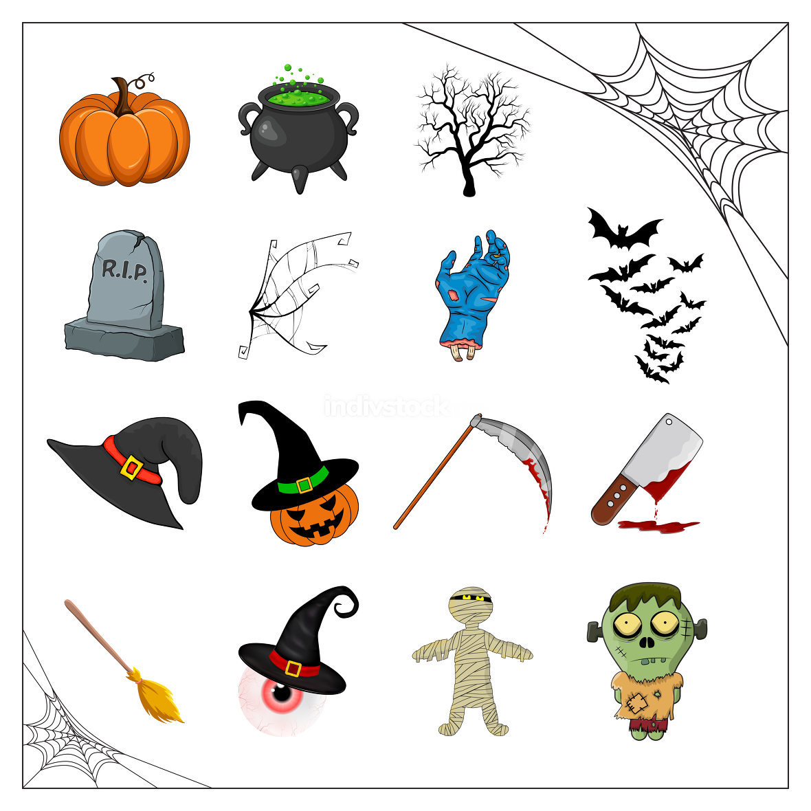 Halloween vector collection of spooky illustration isolated on white. Cartoon symbols for creepy holiday celebration