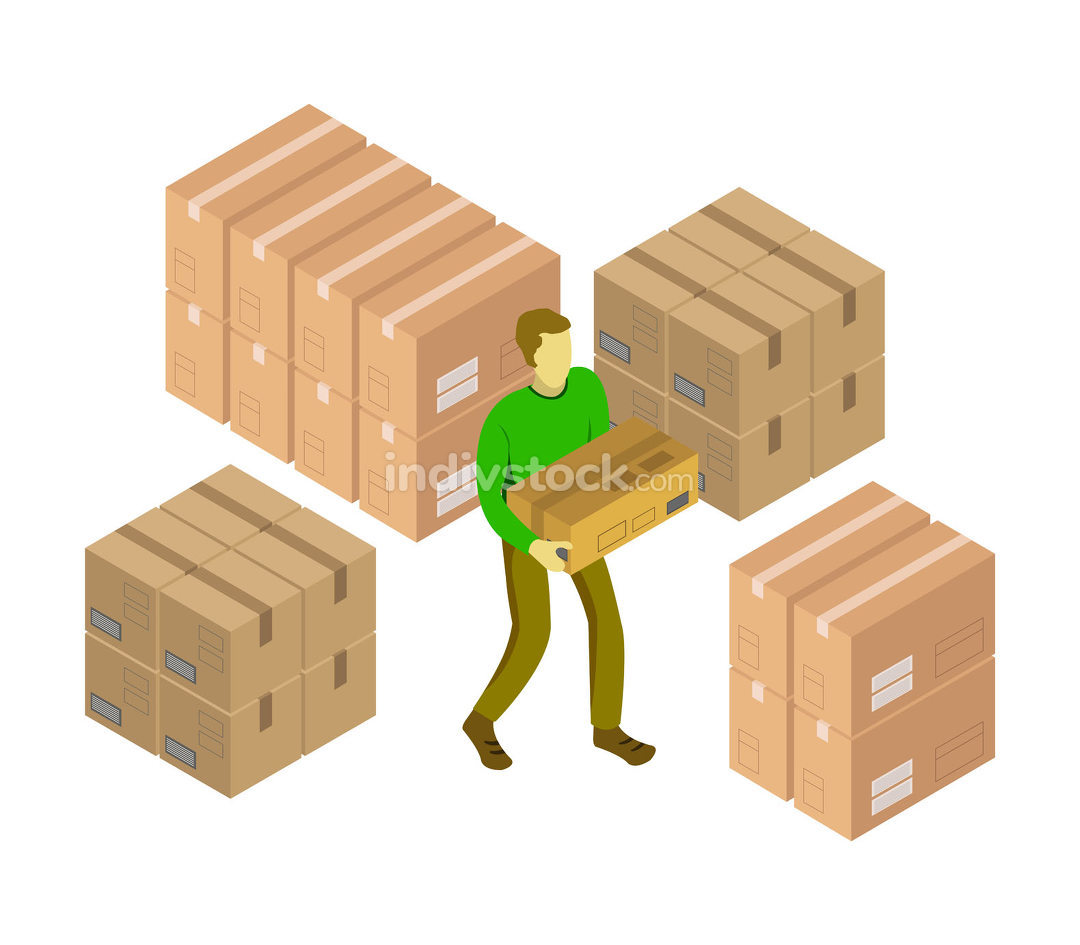 isometric box in vector on a white background