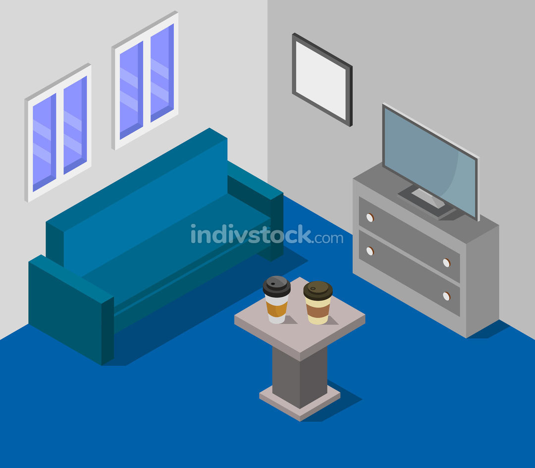 isometric living room on white background