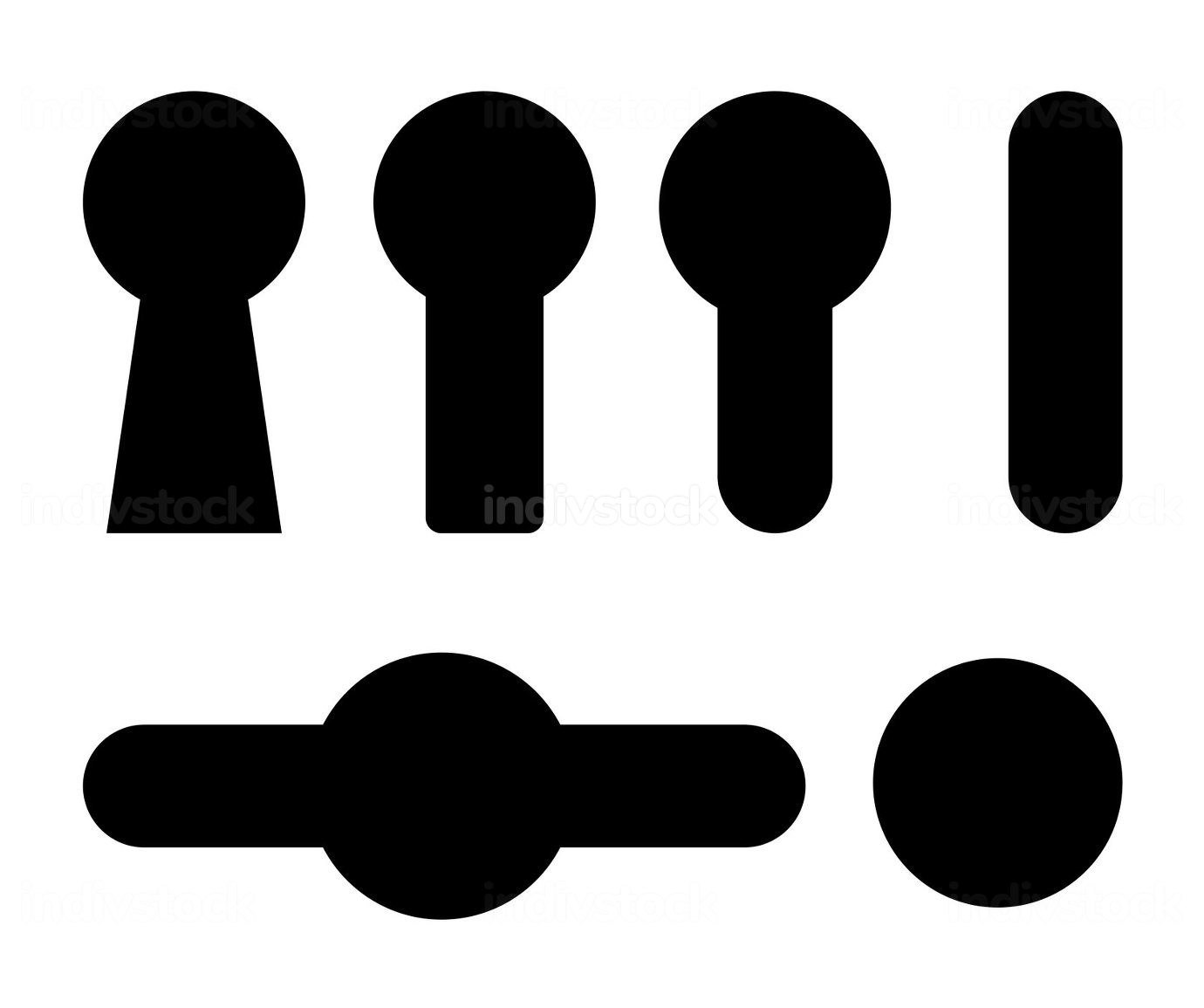 Keyhole icon set. Black shapes collections with security symbols