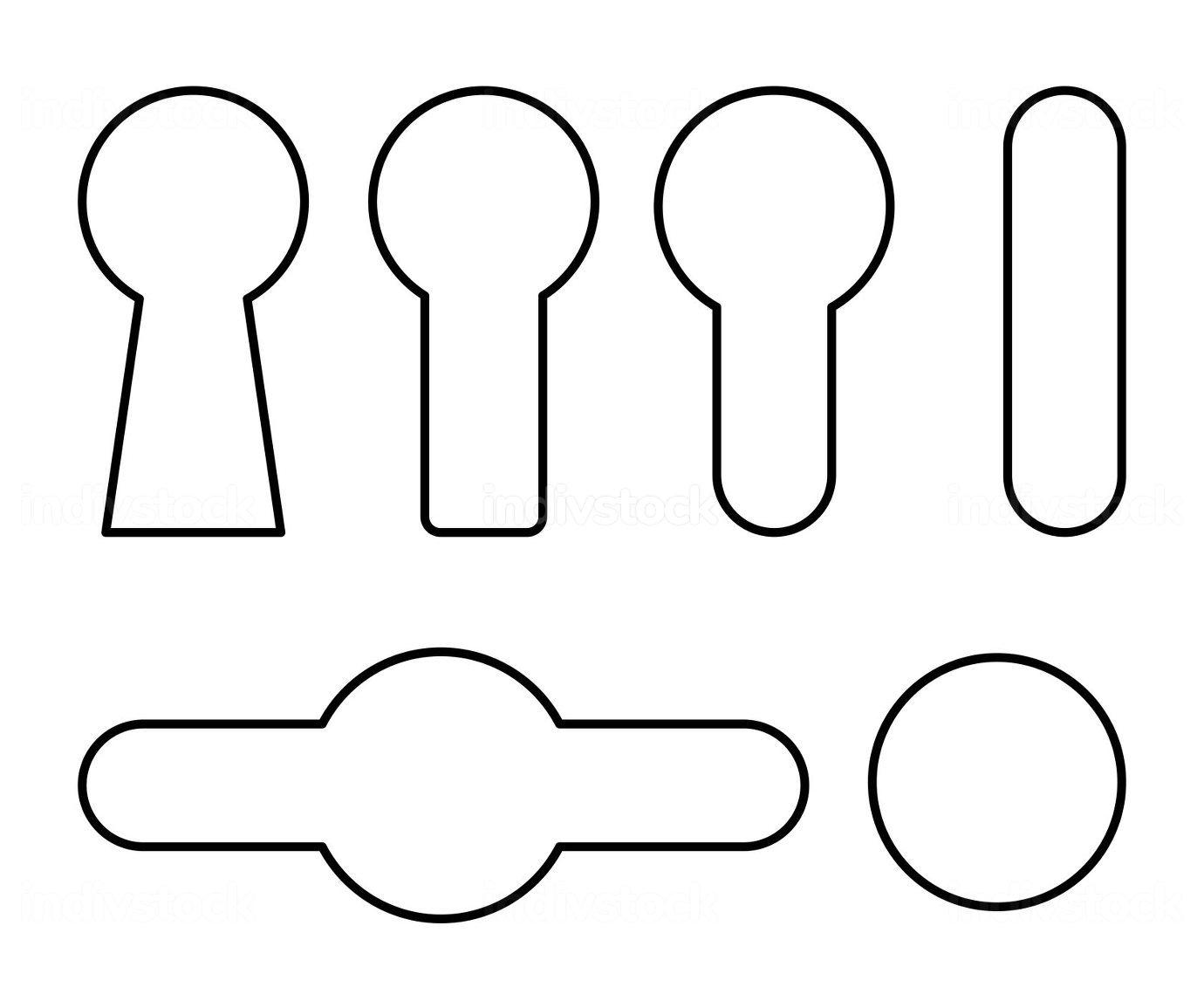 Keyhole outline symbol set. Line contour shapes collections with
