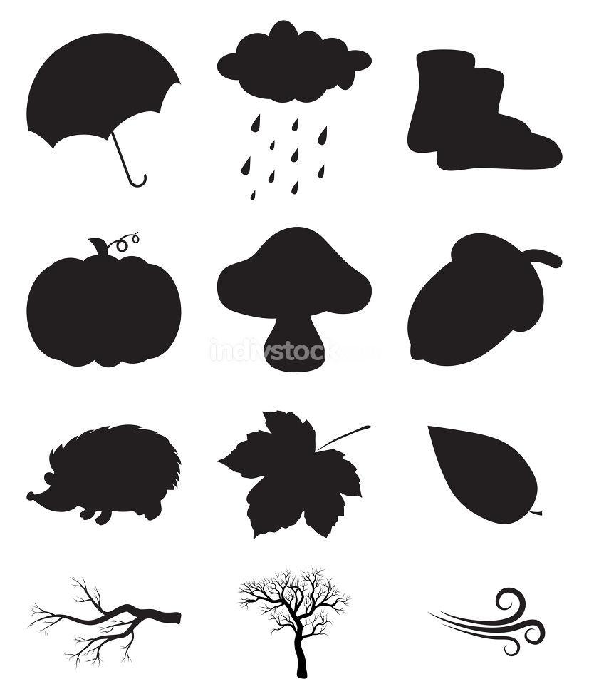 Monochrome seasonal illustration elements. Vector icons with rain, cloud, hedgehog, wind, tree etc.