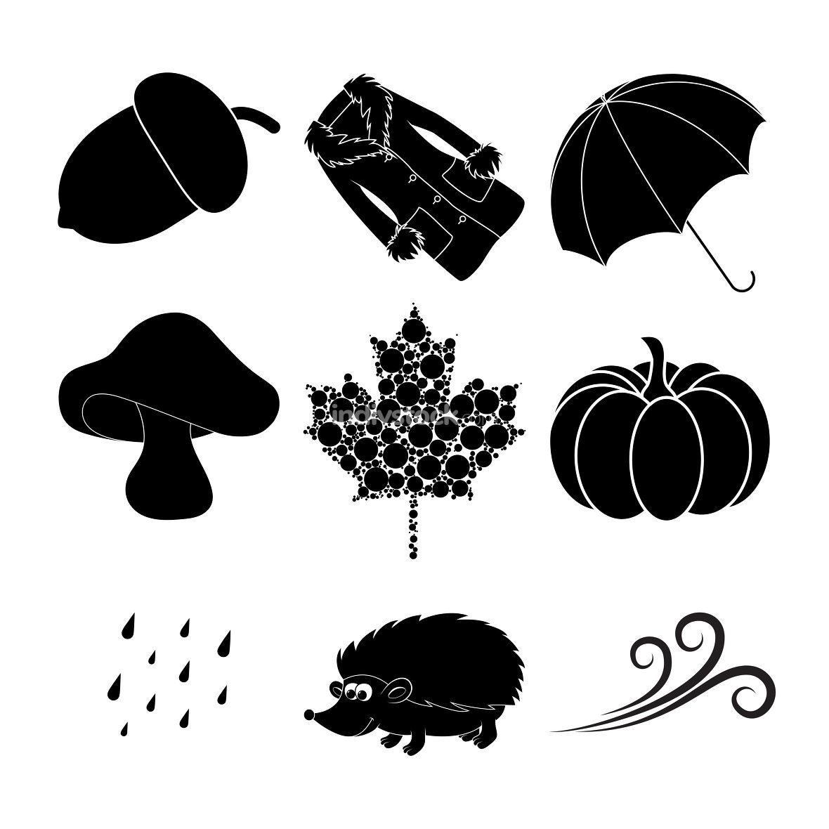 Monochrome seasonal illustration. Fall vector icons with umbrella, rain, wind, etc.