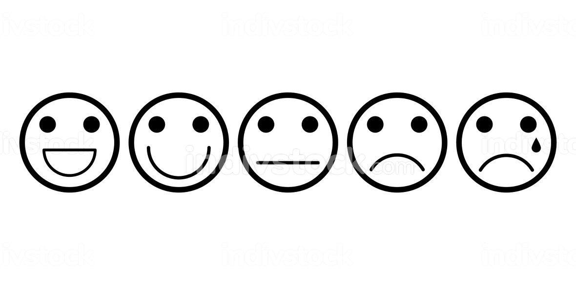 Mood grade with emoji face outline set. Line art with contour ex
