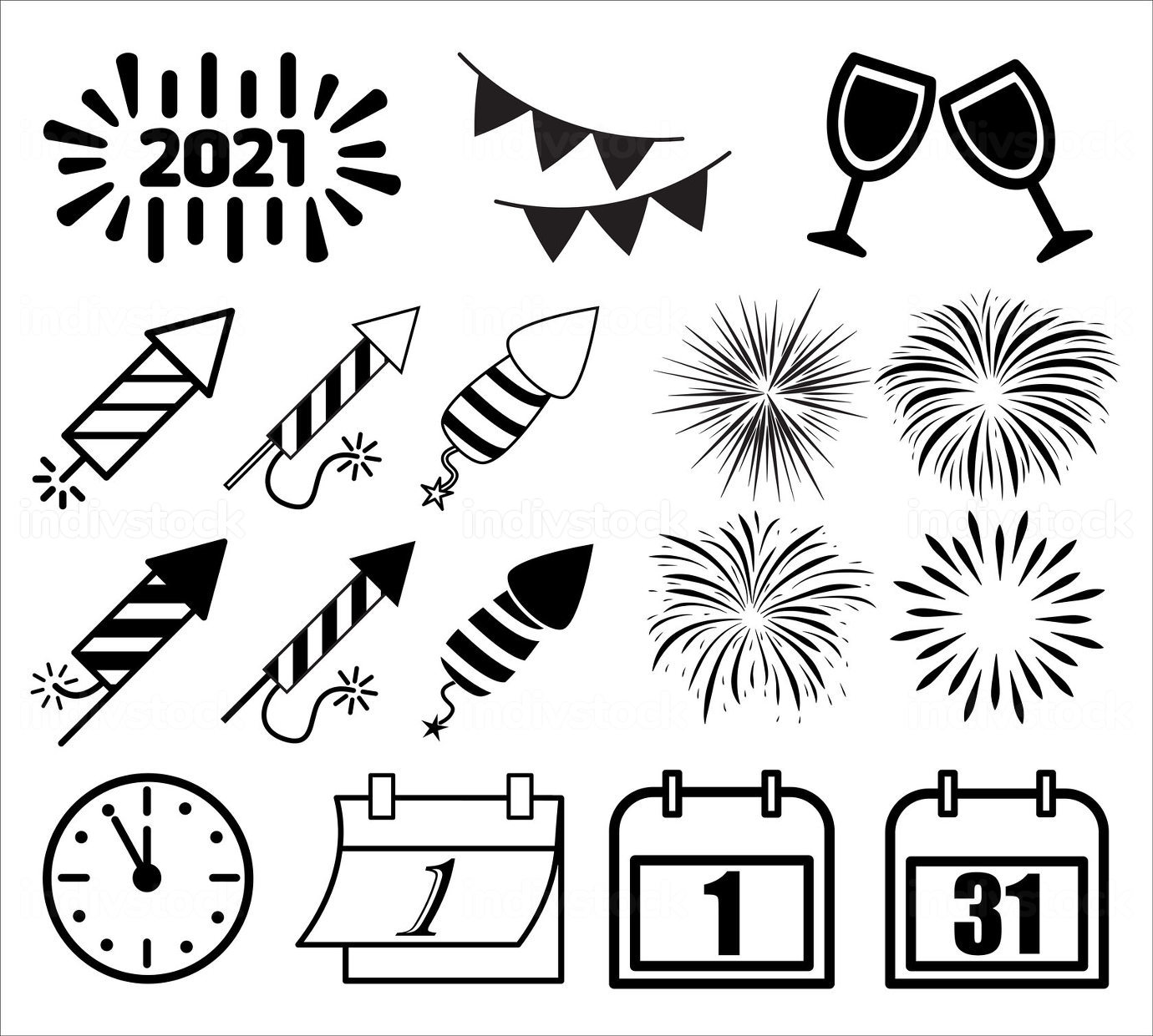 New year icon symbol set. Silhouette and outline shapes. Vector