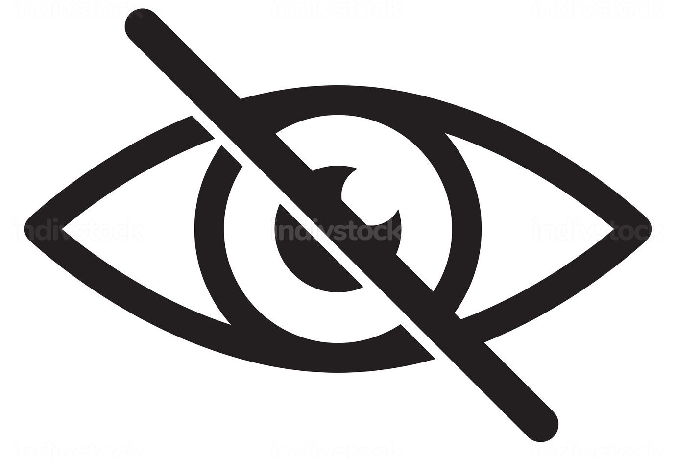 No eye. Black crossed eyeball icon. Concept of avoid look at hidden confidential secret like password. Vector symbol isolated on white background.