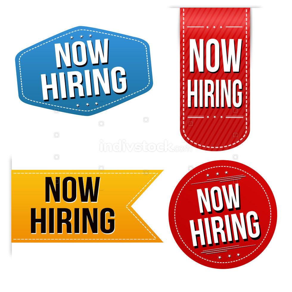 Now hiring sticker or label set