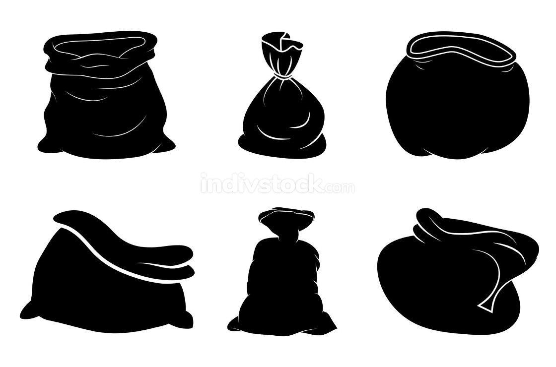 Santa bag silhouette set. Black shape of santa claus sack.Vector