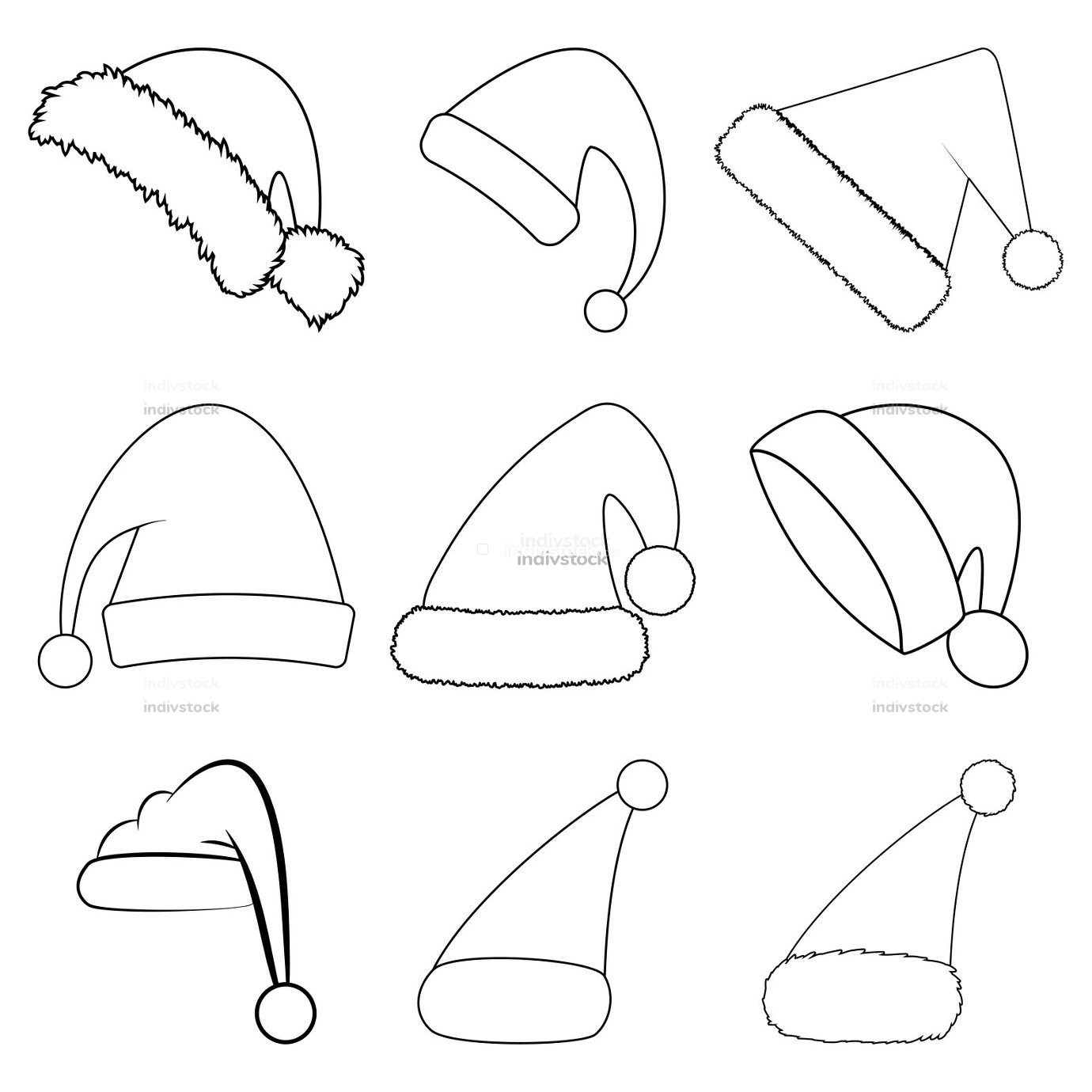 Santa christmas hat outline set. Contour shape collection of santa claus hat. Santa cap icon group isolated on white background. Winter simple symbols. Vector drawing for holiday design.