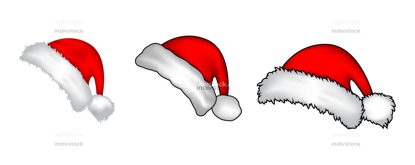 Santa claus red hat collection. Realistic santa cap set isolated on white background. Cartoon drawing for holiday banner or backdrop. Illustration of winter vector symbols. Christmas icons.