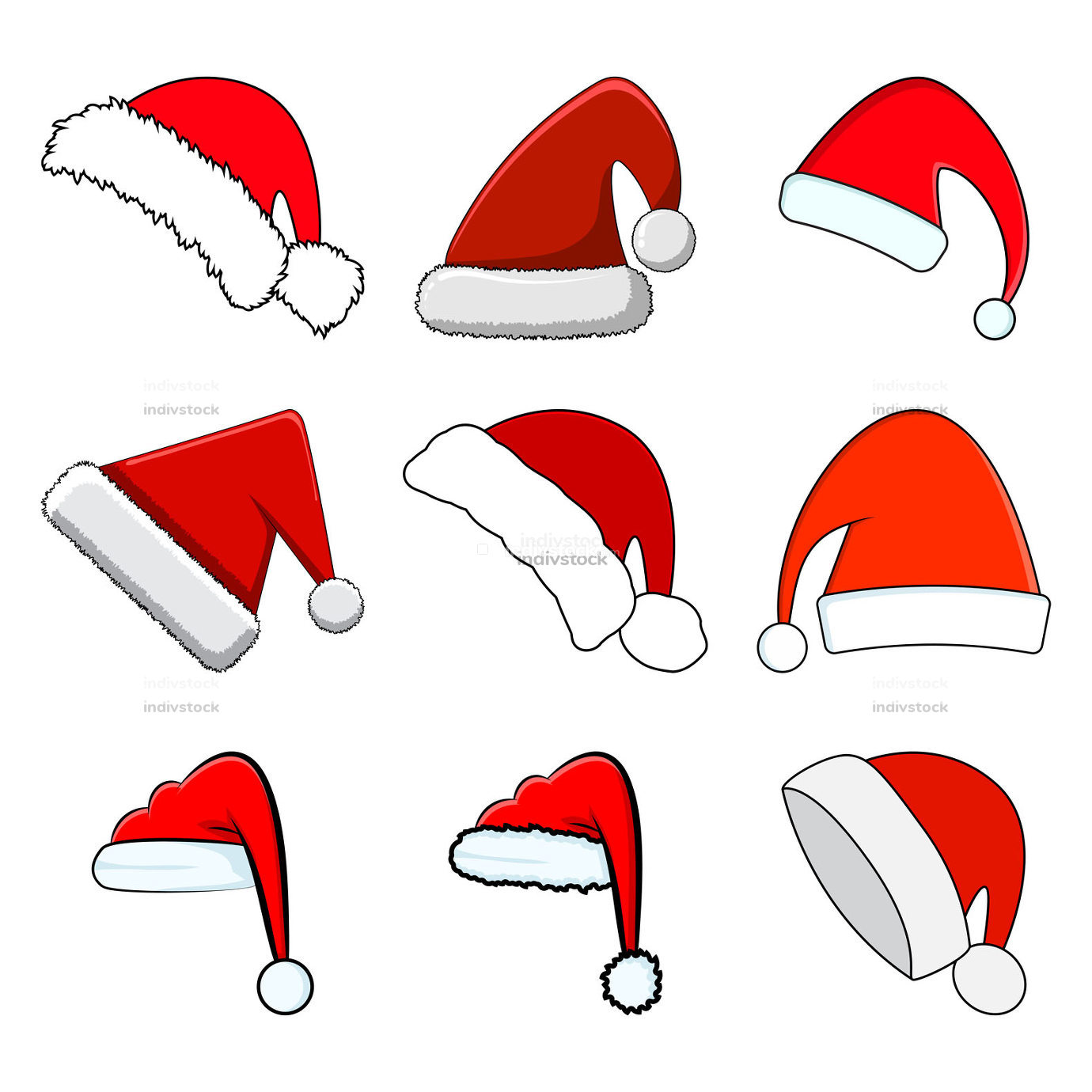 Santa hat set. Red santa claus cap collection isolated on white background. Cartoon drawing for december holiday greeting card. Christmas vector illustration. Winter group of icons and symbols.  collection isolated on white
